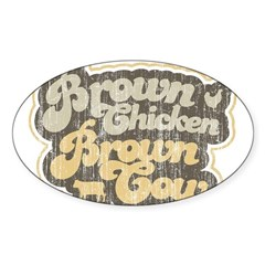 Brown Chicken Brown Cow Oval Decal