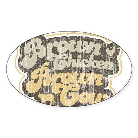 Brown Chicken Brown Cow Oval Sticker