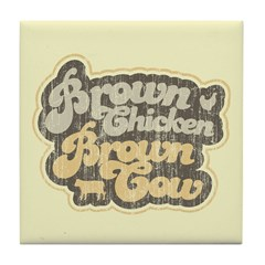 Brown Chicken Brown Cow Tile Coaster