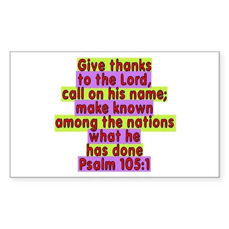 Psalm 105:1 Rectangle Sticker