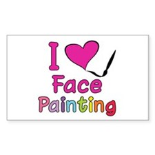 I Love Face Painting Rectangle Sticker 50 pk)