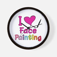 I Love Face Painting Wall Clock