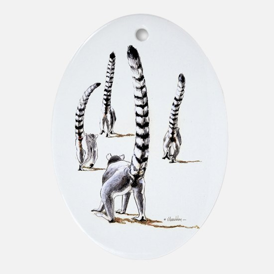 Ring-Tailed Lemurs On The Road Ornament (oval)
