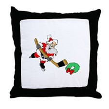 Hockey Santa Throw Pillow