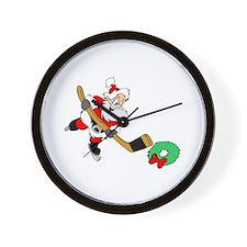 Hockey Santa Wall Clock
