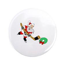 "Hockey Santa 3.5"" Button"