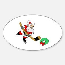 Hockey Santa Oval Decal