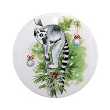 Ring-tailed lemur holiday: UP A TREE Ornament (Rou