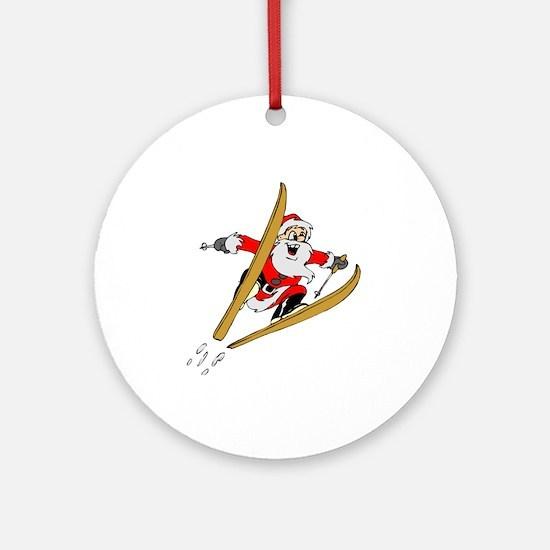 Ski Santa Ornament (Round)