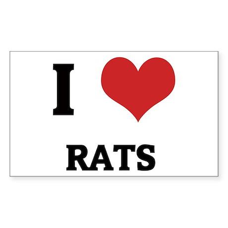 I Love Rats Rectangle Sticker