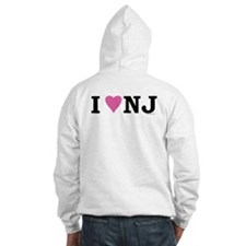 """I LOVE NJ"" Pink BOTH SIDES Hoodie"