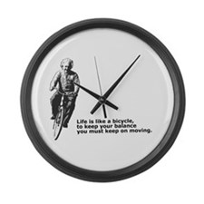 Life is like a bicycle Large Wall Clock