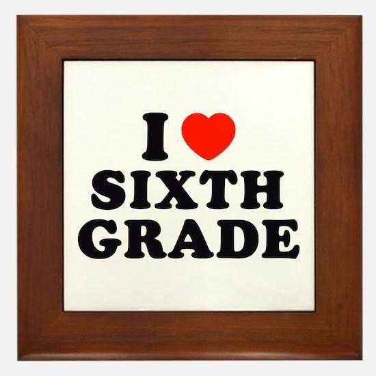 I Heart/Love Sixth Grade Framed Tile