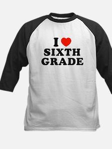 I Heart/Love Sixth Kids Baseball Jersey