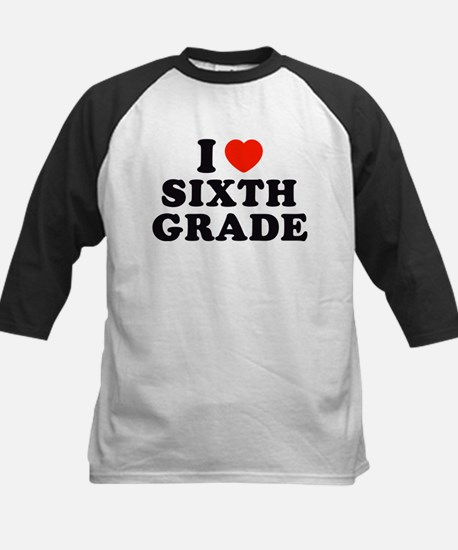 I Heart/Love Sixth Kids Baseball Jersey