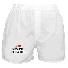 I Heart/Love Sixth Grade Boxer Shorts