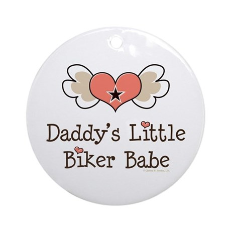 Daddy's Little Biker Babe Ornament (Round)