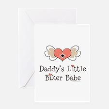 Daddy's Little Biker Babe Greeting Card