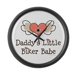 Daddy's Little Biker Babe Large Wall Clock