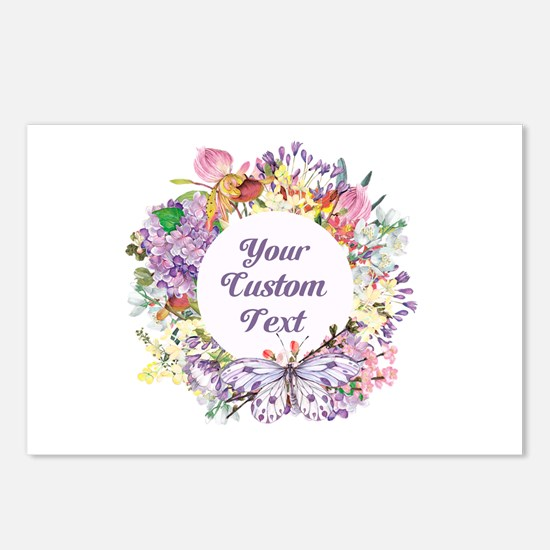 Custom Text Floral Wreath Postcards (Package of 8)