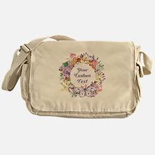 Custom Text Floral Wreath Messenger Bag