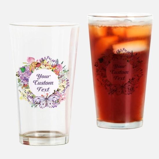 Custom Text Floral Wreath Drinking Glass