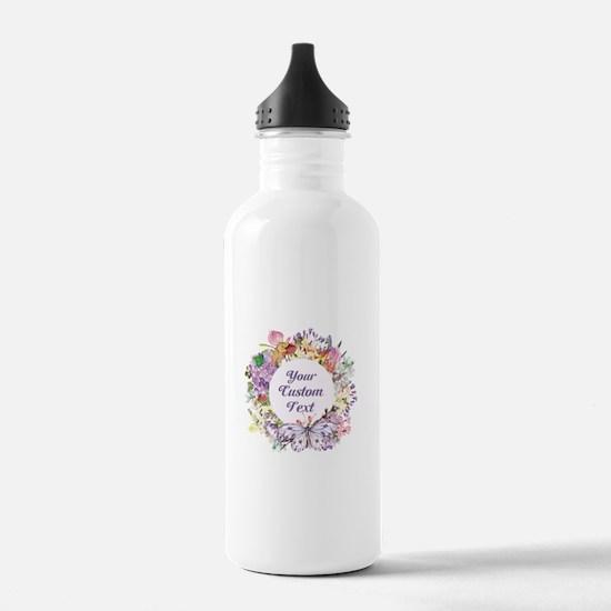 Custom Text Floral Wreath Water Bottle