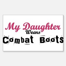 My Daughter Wears Combat Boot Rectangle Decal