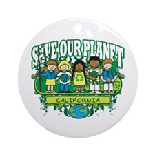 Earth Kids California Ornament (Round)