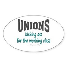Unions Kicking Ass Oval Decal