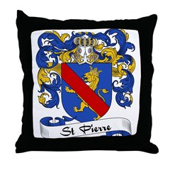 St. Pierre Family Crest Throw Pillow