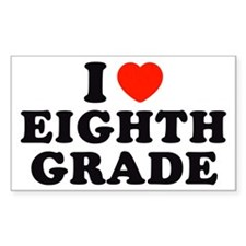 I Heart/Love Eighth Grade Rectangle Decal