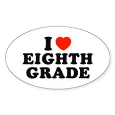 I Heart/Love Eighth Grade Oval Decal