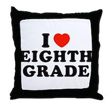 I Heart/Love Eighth Grade Throw Pillow