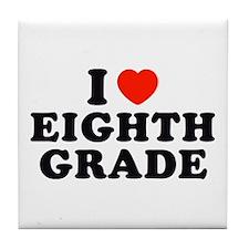 I Heart/Love Eighth Grade Tile Coaster