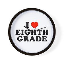 I Heart/Love Eighth Grade Wall Clock