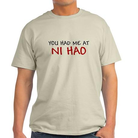 China Shirt You had me at Ni Hao Chinese Hello Lig