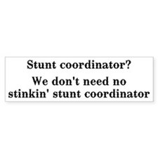 Stunt coordinator? We don't need no... Bumper Sticker