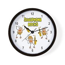 Saxophone Rocks Wall Clock