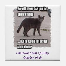 National Feral Cat Day Tile Coaster