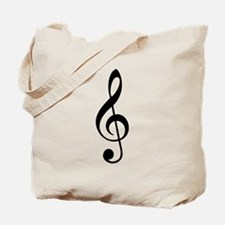 New Trad Black Treble Clef Tote Bag