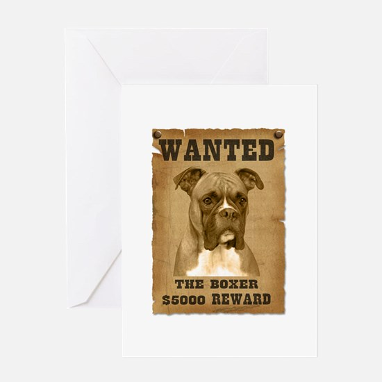 """Wanted"" Boxer Greeting Card"