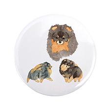 """Blk. & Tan Pomeranian Collage 3.5"""" Button"""
