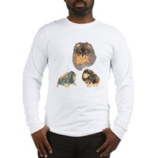 Blk. & Tan Pomeranian Collage Long Sleeve T-Shirt