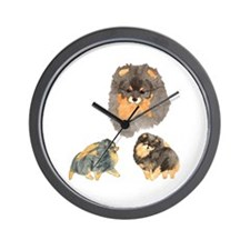 Blk. & Tan Pomeranian Collage Wall Clock
