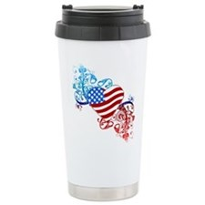 July 4th Heart Scroll Ceramic Travel Mug