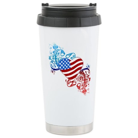 July 4th Heart Scroll Stainless Steel Travel Mug
