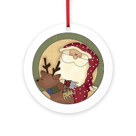 Reindeer and Santa Tree Ornament