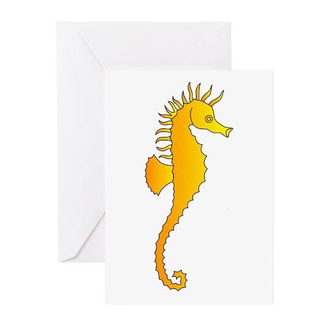 Seahorse Animal Art Tattoo Greeting Cards (Pk of 2