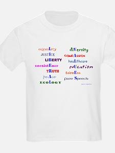 Koy's Logo + LIBERAL VALUES Kids T-Shirt